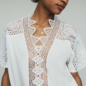 MAJE GUIPURE TOP, White, S (1) size, NWT